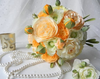 Classic Ivory and Salmon Rose Bridal Bouquet and Man Buttonhole - Wedding bouquets for sale, Alternative bouquets, Wedding flowers,