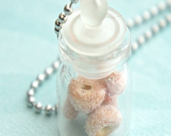 sugar donuts in a jar necklace- miniature food jewelry, bottle necklace