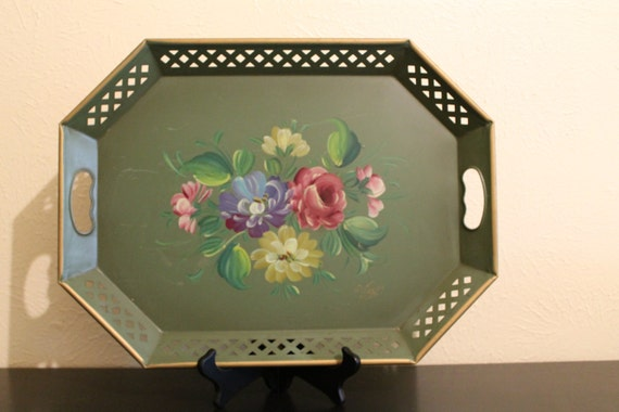 nashco hand painted metal tray by von hand painted floral. Black Bedroom Furniture Sets. Home Design Ideas