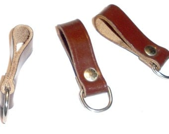 Genuine 1980s Army Brown Leather Belt Loop Metal D-Ring New NOS reenactment steampunk webbing