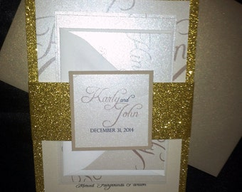 Glitter Style invitation Suite with Bellyband and monogram