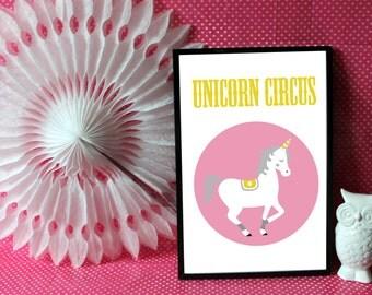 "A4 poster / children Illustration ""Unicorn circus"" circus Collection"