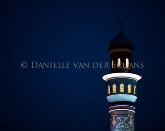 mosque, minaret at night in Muscat, Oman, colors, deep blue sky, art, fine art, digital photography