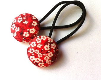Liberty of London hair elastic set- fabric covered buttons