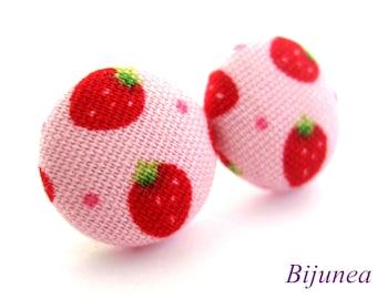 Strawberry earrings studs - Fruit Strawberry posts - Strawberry studs - Strawberry fruit earrings - Fruit jewelry sf770