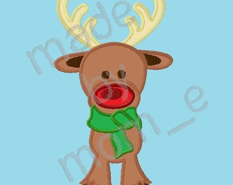 Red Nose Reindeer with Scarf Applique