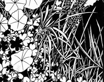 Black and White Ink Plant Illustration #14