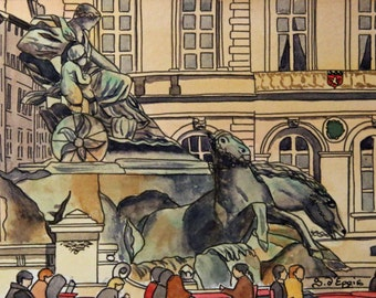 Original watercolour by Lyon. Place des Terreaux with the Bartholdi fountain.