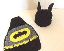 Crochet batman infant set, batman hat, batman cape, baby batman hat, baby batman cape, baby photo props, newborn batman hat and cape.