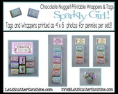 Sparkly Girl printable birthday nugget wrappers.  Perfect for a gift or use as party favors.