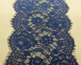 "6ft-10ft navy Table runner,  11"",   lace table runner,  wedding  table runners,  navy lace runner 14110702"