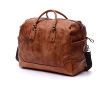 "19"" Unisex Leather Duffle Bag Brown vintage genuine leather luggage bag,Tote bag,travel bag,school bag,crossbody bag,shoulder bag-N023"