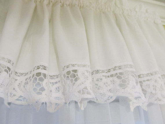 shabby chic battenburg lace white window valance curtain cottage