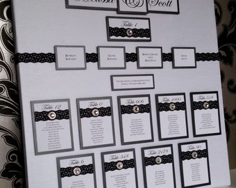 Black & White Lace with Diamante Circle Gems | Wedding Seating/Table Plan Canvas