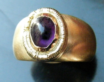 Unique Amethyst Ring Etruscan Style Cabochon Ring Custom Etruscan Ring Engagement Ring Antique Roman style 18k GOLD RING Cabochon Amethyst