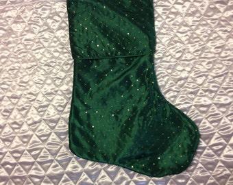 Green Taffeta Christmas Stocking
