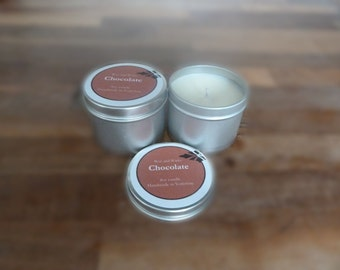 Chocolate soy wax candle tin