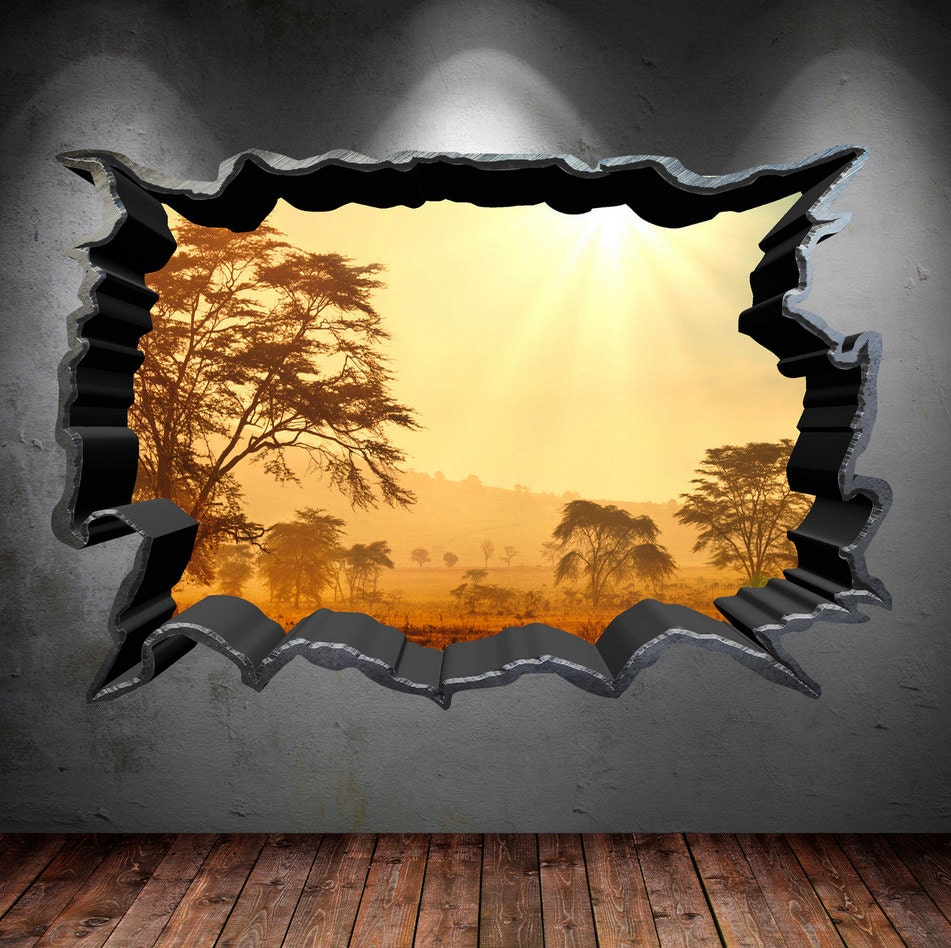 Wall decal cracked hole safari home 3d full colour wall art zoom amipublicfo Gallery