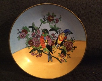 Vintage Brass Enclosed Hand Painted Bowl Made In China