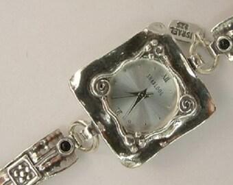 SHABLOOL watch,silver women watch,sterling silver bracelet watches,bracelet watch,silver watchs,garnet watch,jewelry from israel