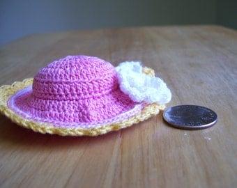 Hand Crocheted Pink Hat Pincushion/Home Decor