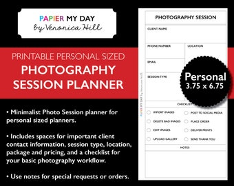 Filofax Personal Photography Planner - Printable Photographer's Checklist for personal size planners - Fits Kikki K Medium
