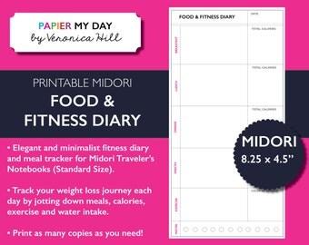 Midori Traveler's Notebook Food & Fitness Journal - Midori TN Food Diary