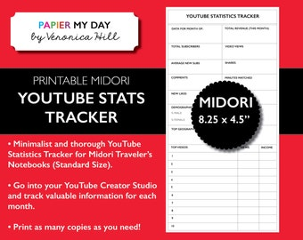 Midori Traveler's Notebook YouTube Video Statistics Tracker - MTN YouTube Video Statistics Tracker