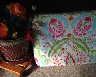 Pink Green Aqua Floral Changing Pad Cover- Ready to Ship