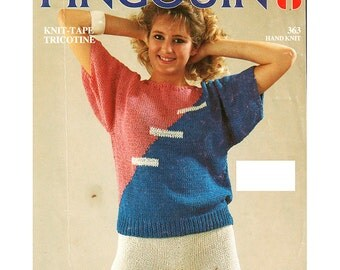 Women's Casual Sweater & Shorts in Tricotine Knit-Tape Knitting Pattern - Pingouin 363