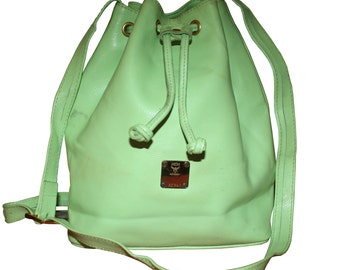 MCM Germany Vintage Green Leather Bucket Bag