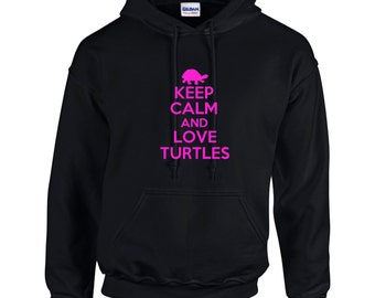 Keep Calm And Love Turtles Mens Hoodie  Funny Animal Shirt