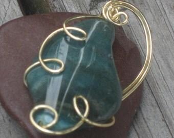 WSP-0213 Handmade Fancy Jasper Gemstone Pendant Wire Wrapped with Non Tarnish Gold Wire