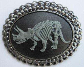 Tattoo retro vintage triceratops dinosaur skull skeleton cameo brooch large