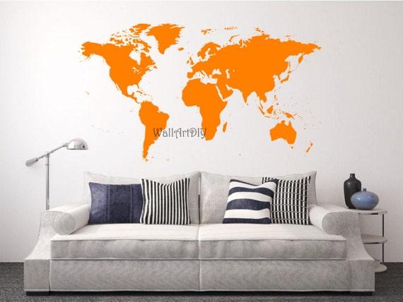 vinyle monde carte murale autocollant monde blanc par wallartdiy. Black Bedroom Furniture Sets. Home Design Ideas