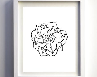 Dahlia Print, Printable Black and White Dahlia, Minimalist Art, Digital Dahlia, Modern Dahlia, Abstract Modern Flower Print Black Floral Art