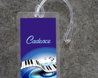 Luggage Tag Personalized Music Luggage Tag Custom Luggage Tag Gym Bag ID Tag Diaper Bag