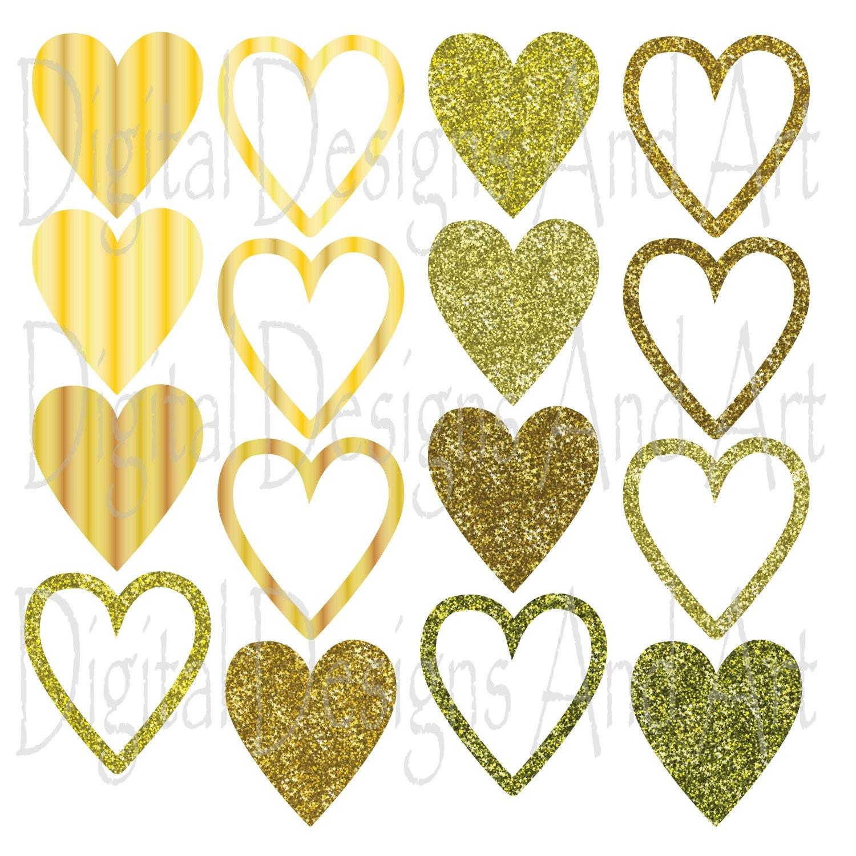 Gold Sparkles Clipart Glitter Heart Clipart Gold