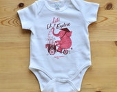 Let's Eat & Explore Organic Baby Vest in Pink and Brown designed by Nicholas John Frith, baby shower, Christmas, birthday Curious Wolves