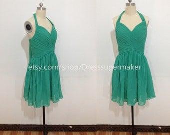 Halter Bridesmaid Dress 2015,Short Bridesmaid Dress,Green Formal Dress, Short Club Dress,Homecoming Dress For Wedding