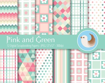 Pink and Green Digital Paper Set - Pastel Digital Paper - Pink Paper - Green Digital Paper - Set of 12 Digital Scrapbooking Papers