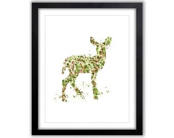 Watercolor Deer Art Print - Fawn - Camouflage - Green and Brown - Wall Decor - Nursery Art - Nature Wall Art - Home Decor - Deer - WA074