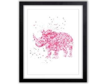 Animal Watercolor Art - Nursery Art Painting - Pink and Gray - Rhino - New Baby Gift - Baby Girl Nursery - Modern Nursery Art - SA041
