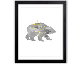 Gray And Yellow Kids Wall Art - Bear - Grizzly Bear - Forest Animals - Bear Nursery Art - Watercolor Art Print - Woodland Animal Art - WA033