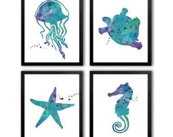Nautical Nursery Art - Nautical Nursery Decor - Seahorse - Starfish - Ocean Life Nursery Art - NS22