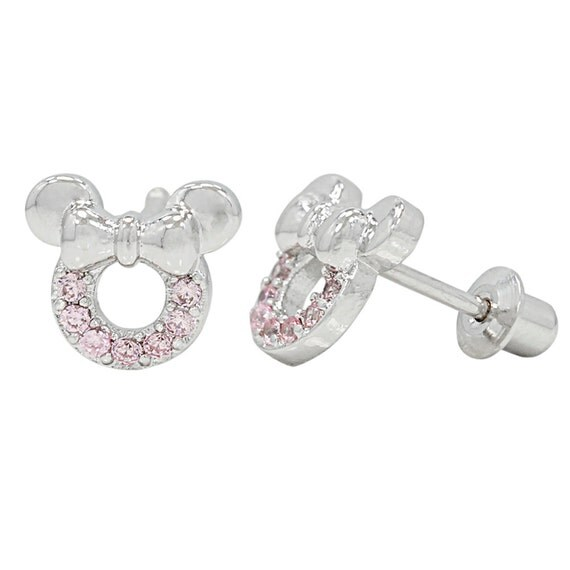 minnie mouse with pink crystals white gold by
