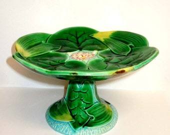 George Jones Majolica Lily Compote Plate English Pottery Platter