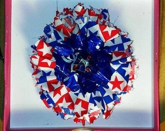 Shabby Chic Fabric & metal hair flower red-white-n-blue stars