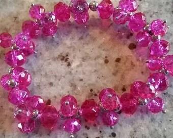 Dark Pink Glass Cluster Bracelet