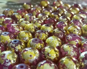 12mm Pink & Gold Glass Drawbench Beads